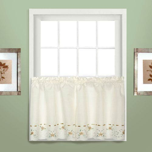 United Curtain Co. Rachael Taupe 36 x 60 In. Kitchen Tier Pair, Set of Two