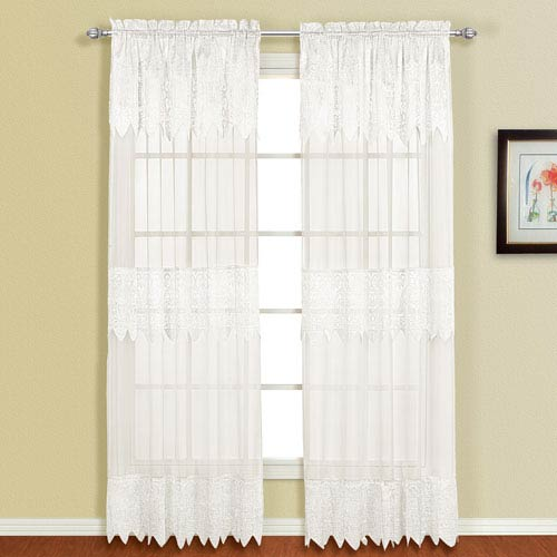 United Curtain Co. Valerie White 84 x 52 In. Curtain Panel Set, Set of Two