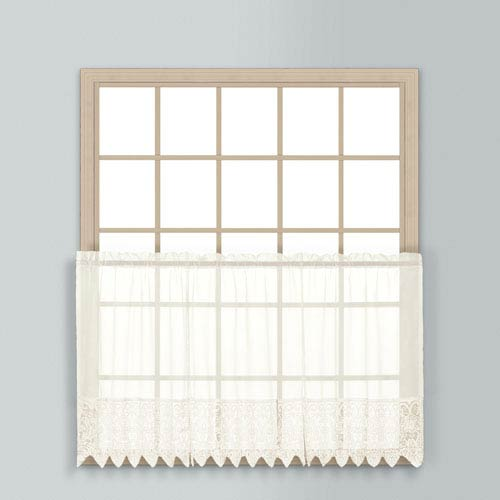 United Curtain Co. Valerie Natural 36 x 52 In. Kitchen Tier Pair, Set of Two