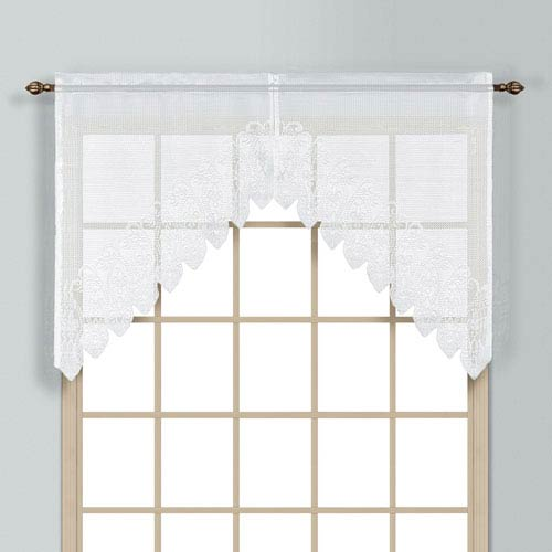 United Curtain Co. Valerie White 38 x 52 In. Split Swag Pair, Set of Two