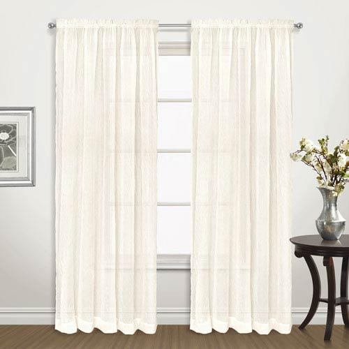 United Curtain Co. Venice Natural 63 x 50 In. Curtain Panel Set, Set of Two