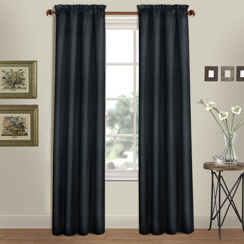 Westwood Black 63 x 56 In. Curtain Panel Split Pair, Set of Two