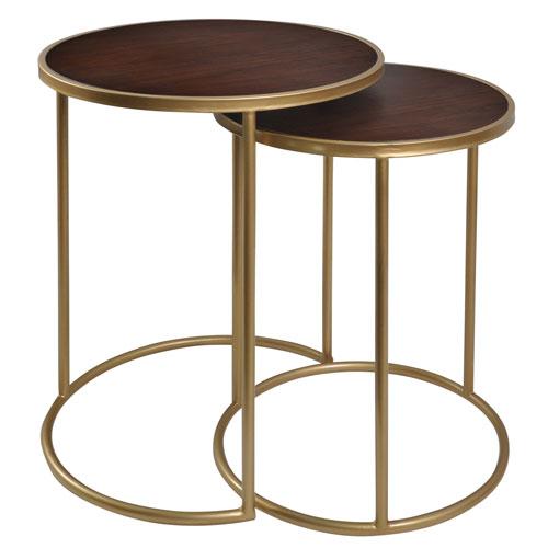 StyleCraft Gold Bryan Keith Mahagony Bay-Nesting Metal Table, Set of 2