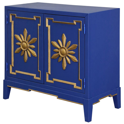 StyleCraft Royal Blue Overlay Two-Door Cabinet