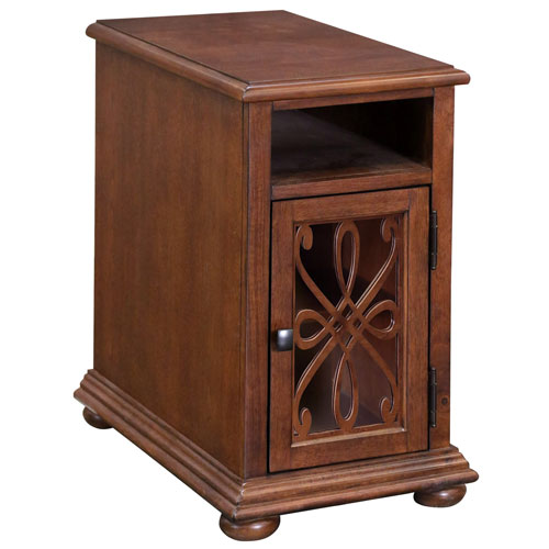Cherry Ornate Overlay Chairside Cabinet