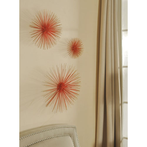 Coral Red and Gold Metal Wall Art, Set of 3