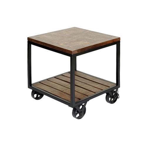 StyleCraft Dark Bronze Two-Tier Wheeled Trolley Side Table