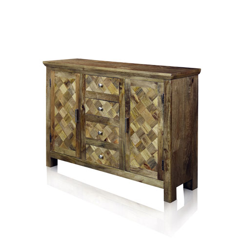 Natural Honey Two-Door Four-Drawer Diagonal Parquets Wood Sideboard
