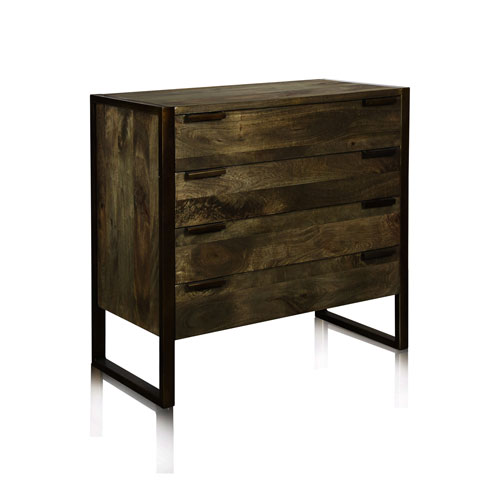 Olive Contemporary Rustic Four-Drawer Dresser