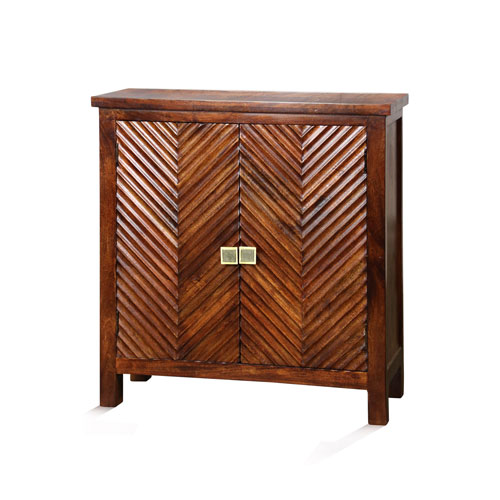 Red Chevron Pattern Inlay Two-Door Cabinet
