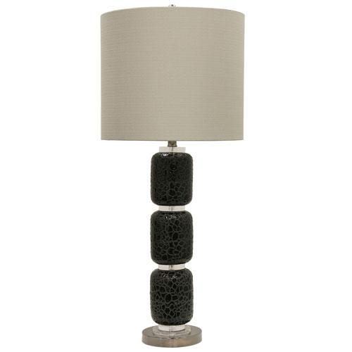 StyleCraft Jane Seymour Black One-Light 38-Inch Table Lamp with Beige Hardback Fabric Shade