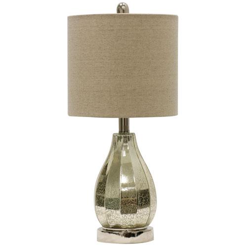 StyleCraft Ivory Mercury One-Light Table Lamp with Taupe Hardback Fabric Shade