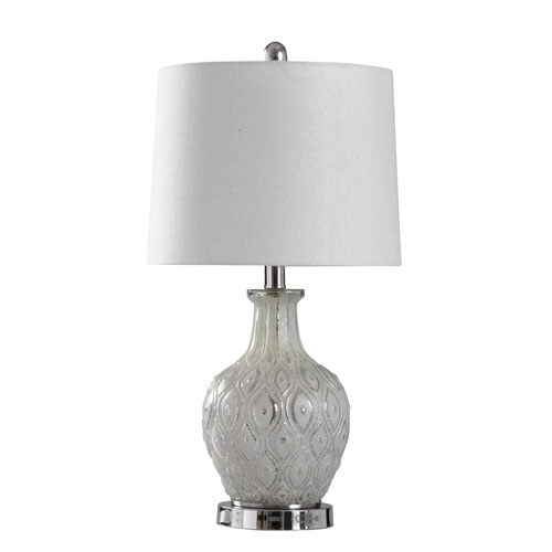 Tabitha Distressed Cream and Chrome 22-Inch One-Light Table Lamp