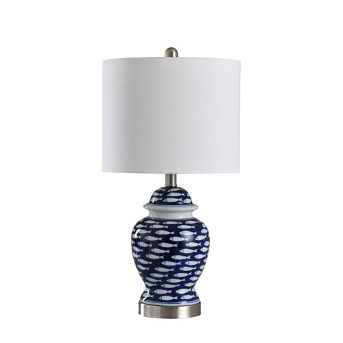 5d31a73a3f3a StyleCraft School of Fish Blue and White 23-Inch One-Light Table Lamp