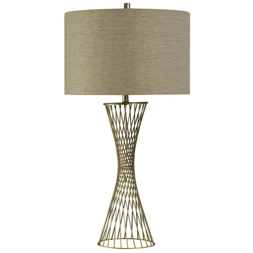 StyleCraft Brass One-Light Table Lamp with Natural Linen Hardback Fabric Shade