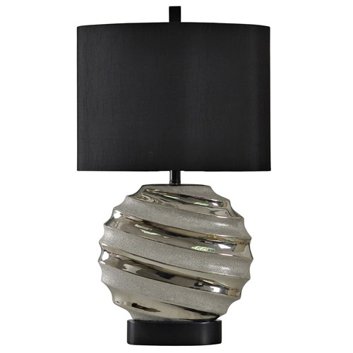 Silver One-Light 30-Inch Table Lamp with Black Hardback Fabric Shade