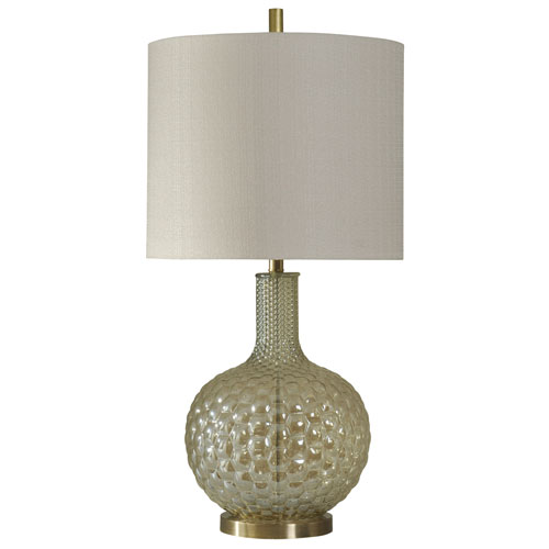 StyleCraft Clear and Gold One-Light Table Lamp with White Hardback Fabric Shade