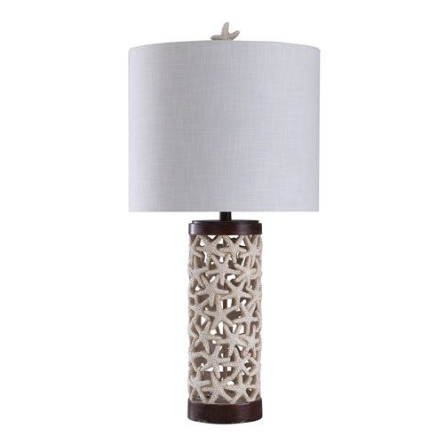 Starfish Off-White and Dark Wood 31-Inch One-Light Table Lamp