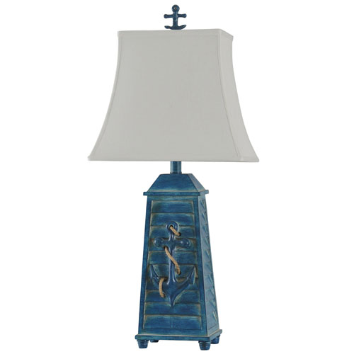 StyleCraft Blue One-Light Table Lamp with White Softback Fabric Shade