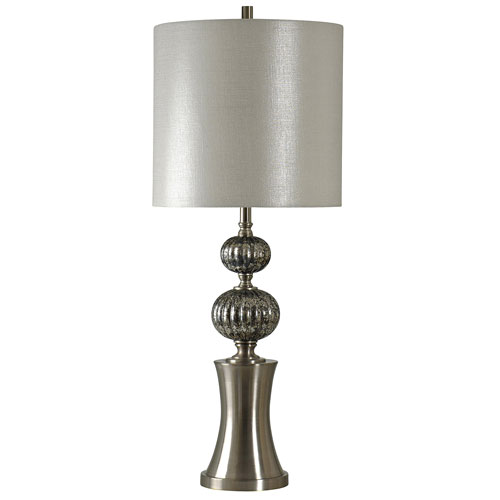 StyleCraft Silver One-Light Table Lamp with Silver Hardback Fabric Shade