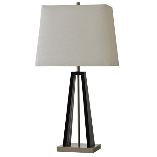 StyleCraft Black and Brushed Steel One-Light 32-Inch Table Lamp