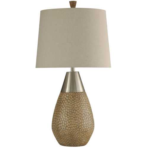 StyleCraft Brown and Brushed Steel One-Light 35-Inch Table Lamp