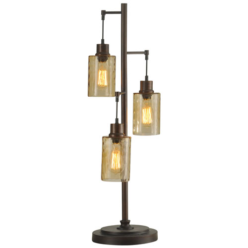 Bronze Three-Light Table Lamp with Clear Dimpled Glass Shade