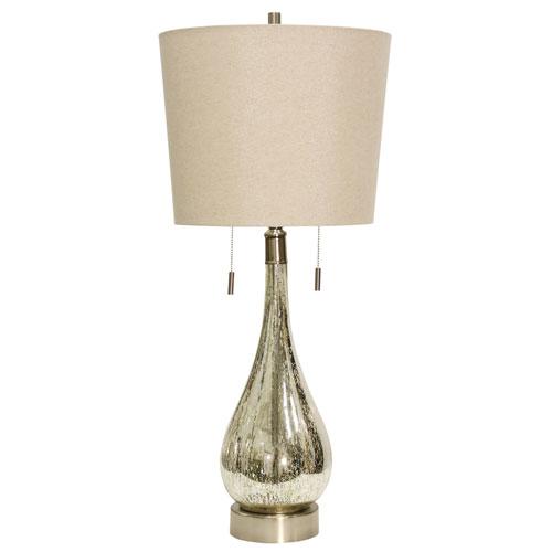 StyleCraft Mercury One-Light 36-Inch Table Lamp with Beige Hardback Fabric Shade