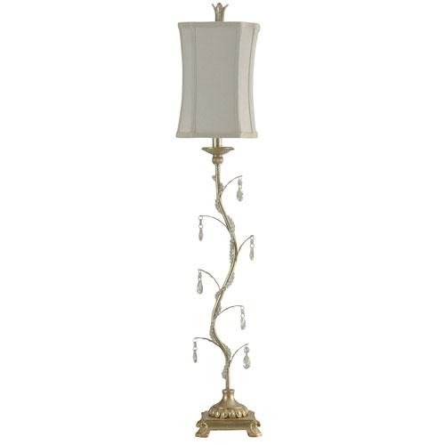 StyleCraft Arcene Silver One-Light Table Lamp with Taupe Softback Fabric Shade