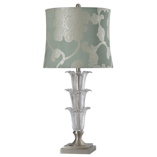 StyleCraft Brushed Steel One-Light Table Lamp with Floral Blue Softback Shade