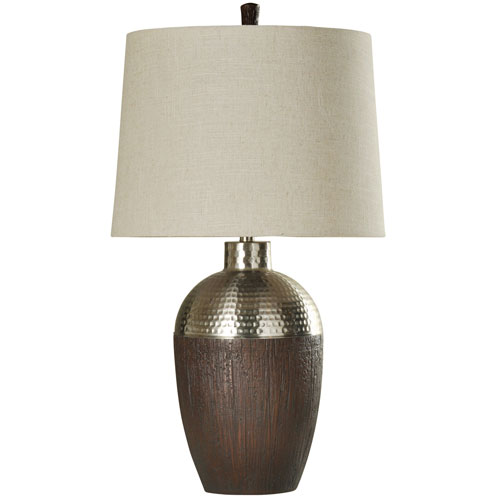 Stained Wood and Chrome One-Light Table Lamp
