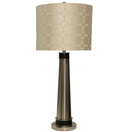 Brushed Steel One-Light Table Lamp with Cream Designer Pattern Hardback Fabric Shade