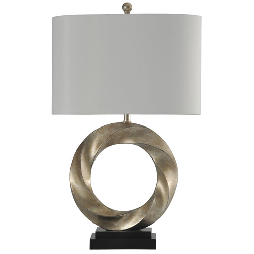 Silver One-Light 30-Inch Table Lamp with White Hardback Fabric Shade