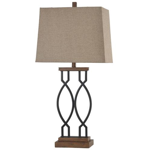 StyleCraft Black Wood One-Light 33-Inch Table Lamp
