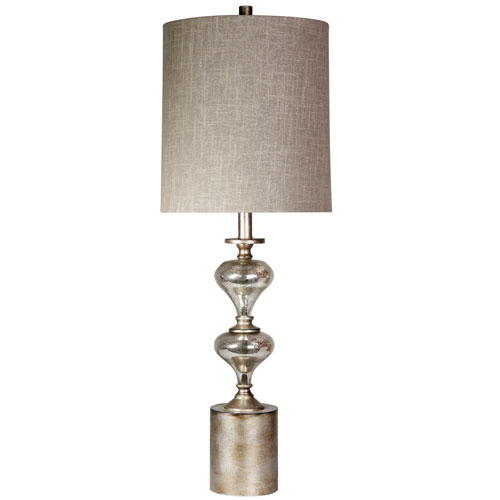 Mercury One-Light Table Lamp with Taupe Hardback Fabric Shade