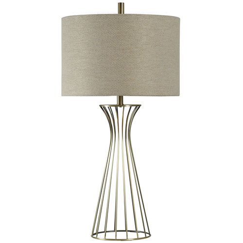 Antique Brass One-Light Table Lamp with Beige Hardback Fabric Shade