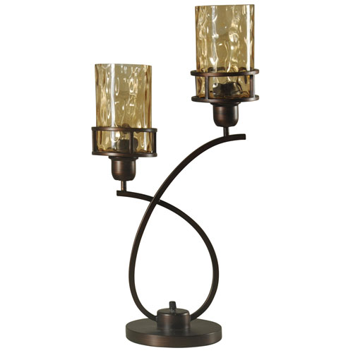 Bronze Two- Light Table Lamp with Amber Glass Shade