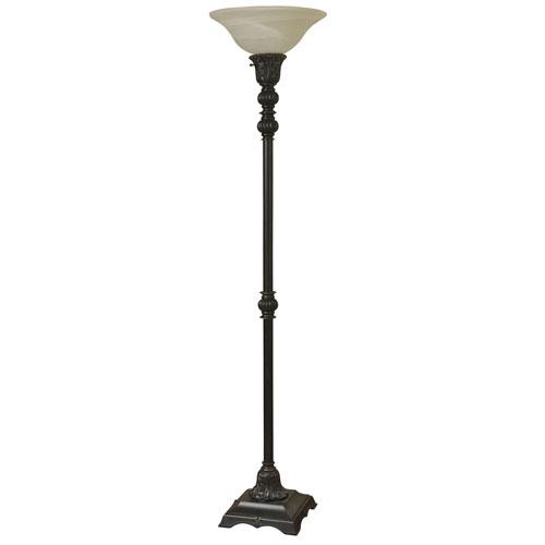 StyleCraft Madison Bronze One-Light Floor Lamp with White Glass Shade