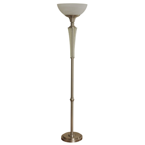 Brushed Steel LED Floor Lamp with Frosted Glass Shade