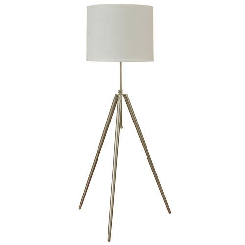 Brushed Steel One-Light Floor Lamp with White Round Hardback Fabric Shade