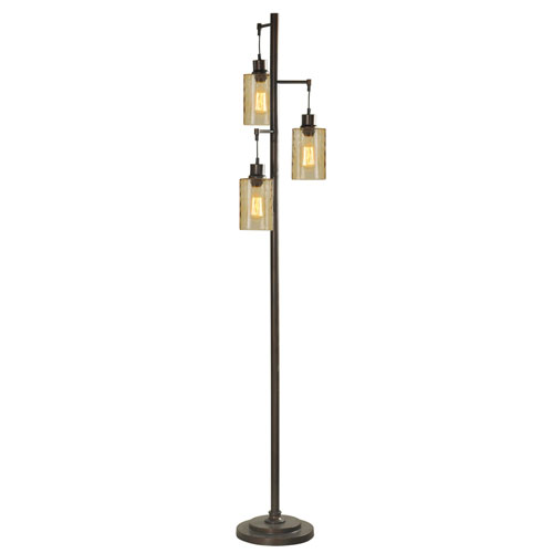 Bronze Three-Light Floor Lamp with Clear Glass Shade