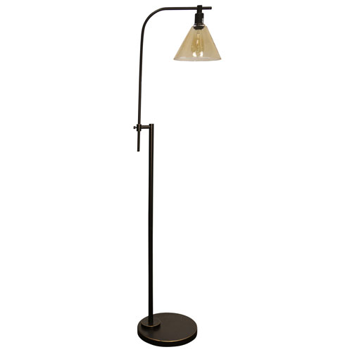 Madison Bronze One-Light Floor Lamp with Yellowed Glass Shade