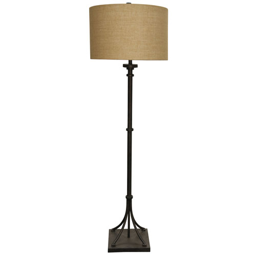 StyleCraft Industrial Bronze One-Light Floor Lamp with Beige Hardback Fabric Shade