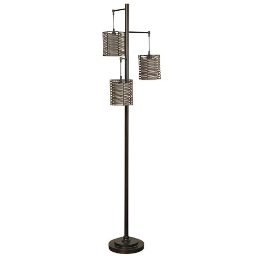 StyleCraft Bronze Three-Light Floor Lamp with Brown Rattan Hardback Fabric Shade