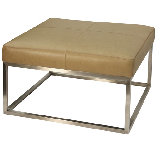 Polished and Genuine Camel Leather Ottoman