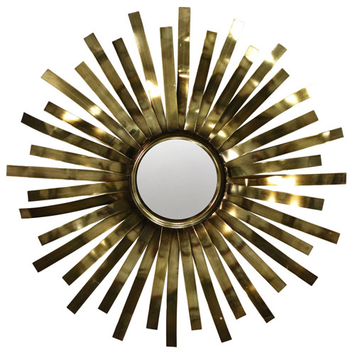 Satin Brass Sunburst Round Wall Mirror