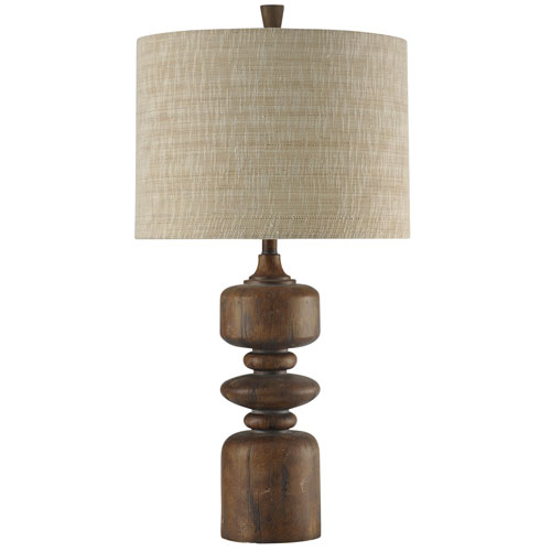 Cotton Wood One-Light Table Lamp with Beige Hardback Fabric Shade
