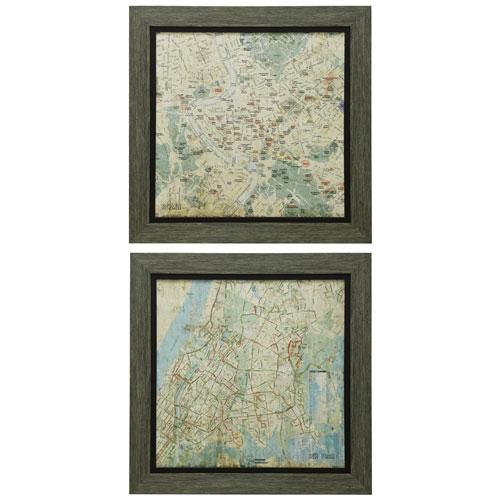 StyleCraft Weathered Wood Framed Map Print Wall Art, Set of 2