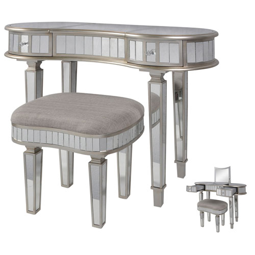 Gray Two-Piece Kidney Shaped Mirrored Vanity Set