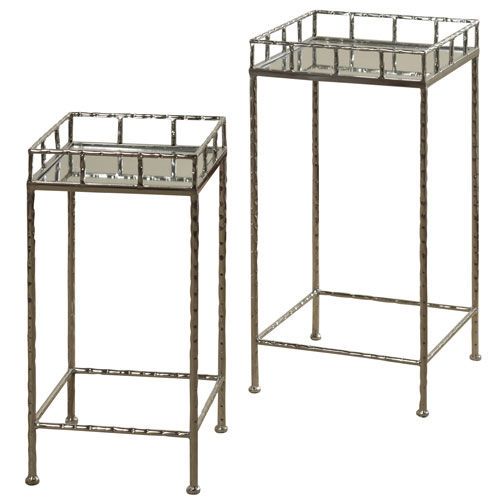 Silver Mirror Top Nested Side Table, Set of 2